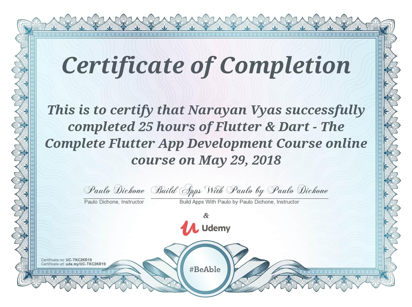Flutter Certificate
